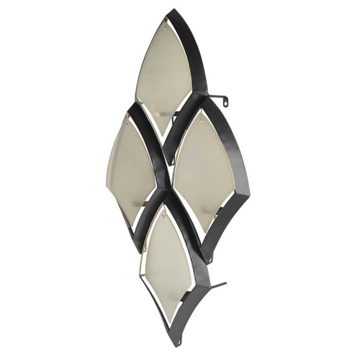 53322 - Tarmac I Collection of 4 Black Metal Frame w/Frosted Glass Shade Wall Candle Holder