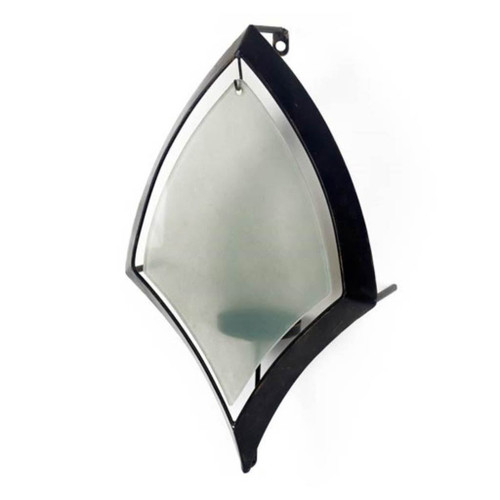 53325 - Tarquin I Black Metal Frame w/Frosted Glass Shade Wall Candle Holder