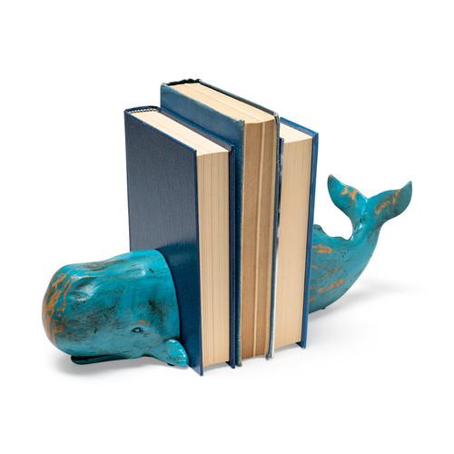 57366 - Langdon aqua blue Whale Bookend