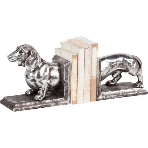 57437 - Clackston Silver Dachshund Dog Bookend