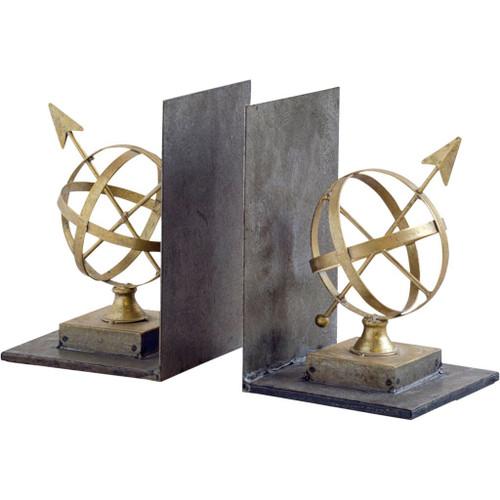 57708 - Virdal Gold Metal Sphere Sculpture Bookends