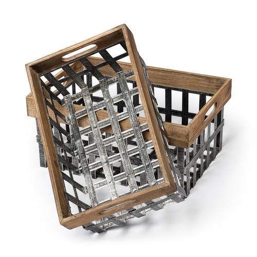 57851 - Chartrand Set of 2 Open Crate Style Wood/Metal Baskets
