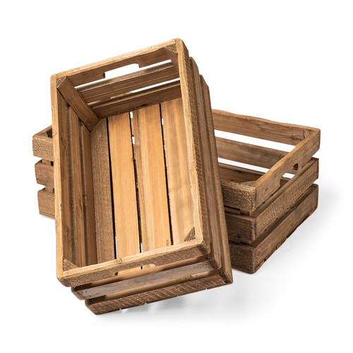 57975 - Gemini Set of 2 Brown Wood Slatted Boxes