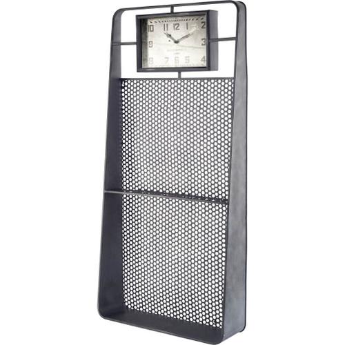 63157 - Larch Rectangular Industrial Wall Clock