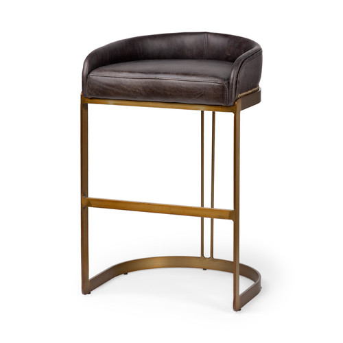 """67080 - Hollyfield 32.8"""" Total Height Brown Leather Seat Gold Metal Base Stool"""