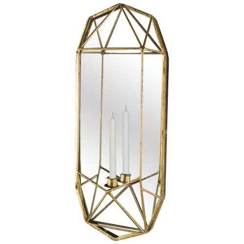 """67182 - Olaf 24"""" Gold Metal Mirrorred Wall Candle Holder"""