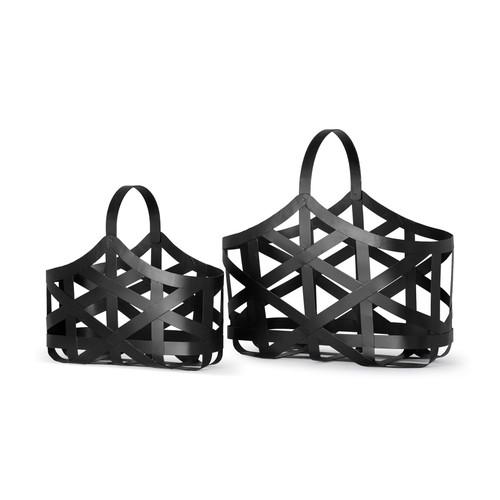 67798 - Tyrell Set of 2 Black Iron Metal Baskets