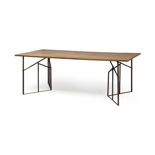 67844-AB - Corrigan 84x40 Rectangular Brown Solid Wood Top Black Metal Base Dining Table