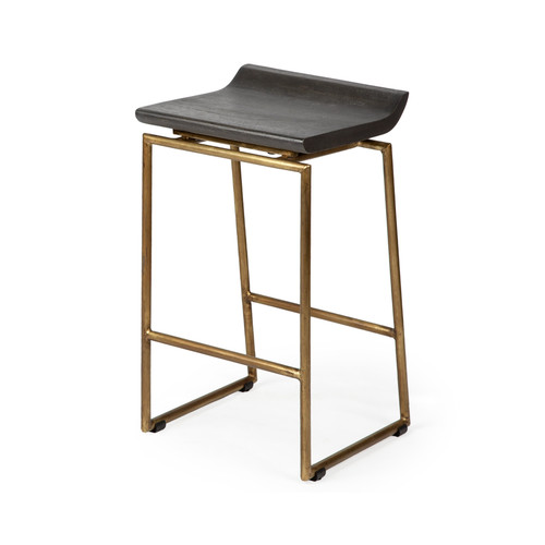 "67852 - Givens 24.25"" Seat Height Brown Wood Seat Gold Metal Frame Stool"