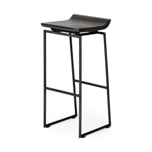"67853 - Givens 30.25"" Seat Height Black Wood Seat Black Metal Base Stool"