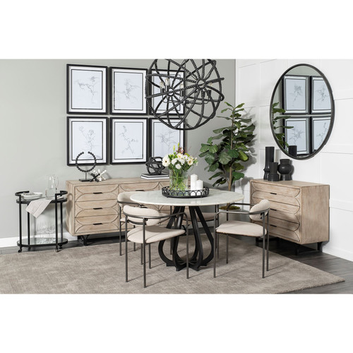 """68237-AB - Laurent 48"""" Round White Marble Top Black Base Dining Table"""