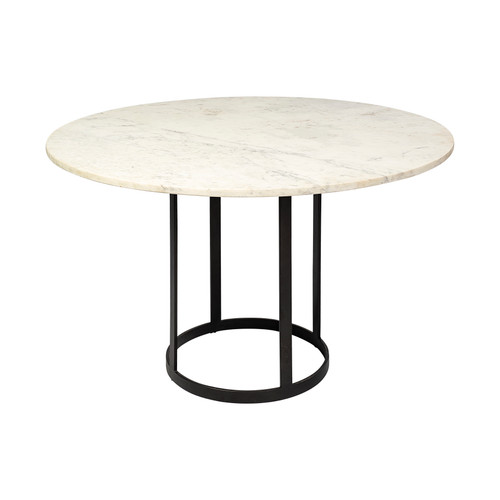 """68849-AB - Tanner II 48"""" Round White Marble Top Black Metal Base Dining Table"""