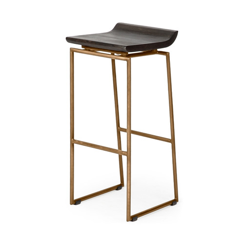 "67991 - Givens 30.25"" Seat Height Brown Wood Seat Gold Metal Base Stool"