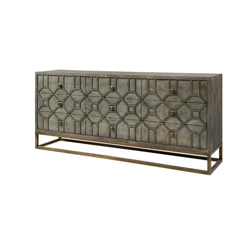 68116 - Genevieve II 70x15.8 Brown Solid Wood Frame Gold Metal Base 9 Drawer Sideboard