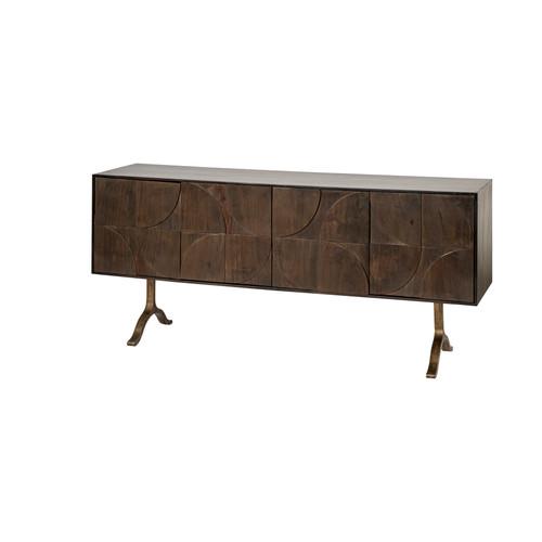 68749 - Xanti 70x18 Brown Solid Wood Frame Gold Metal Legs 4 Door Cabinet Sideboard