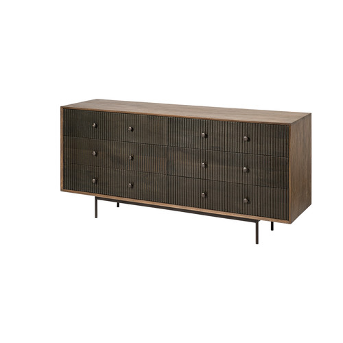 68846 - Grace II 70x18 Two-Tone Brown Solid Wood 6 Drawer Sideboard