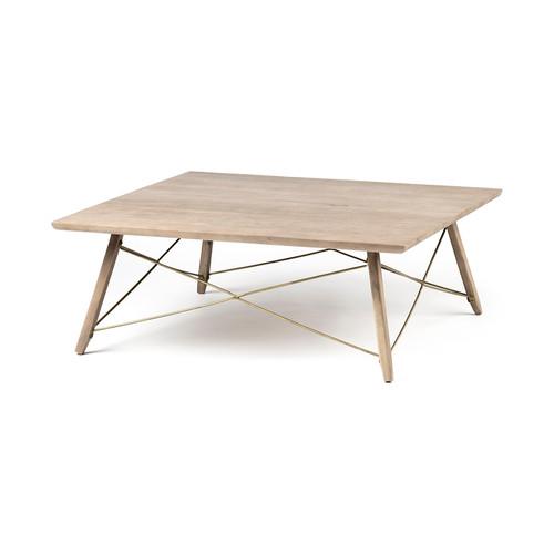 68221 - Kirby II 40x40 Brown Solid Wood Top & Legs w/Metal Bracing Coffee Table