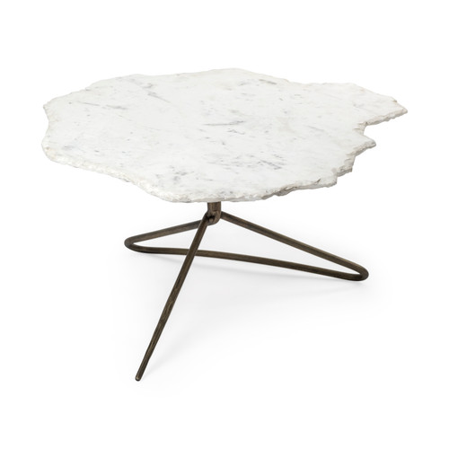 "68246-AB - Pinera I 37"" Irregular White Marble Top Gold Metal Base Coffee Table"
