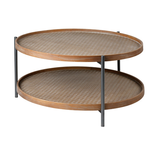 "68542 - Kade I 33"" Round Brown Table Black Metal Frame Two-Tier Coffee Table"