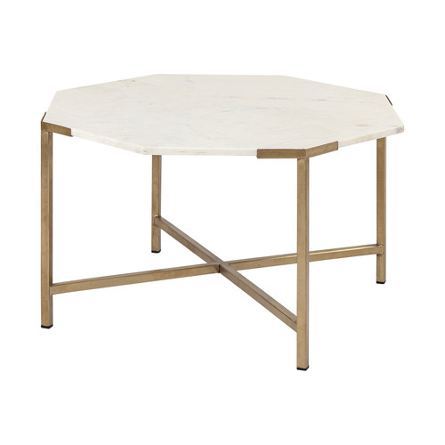 "68850-AB - Vincent I 33"" Hexagon White Marble Top Gold Metal Base Coffee Table"