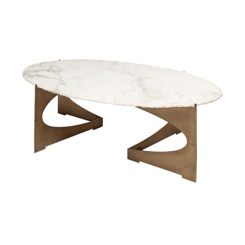 69051-AB - Reinhold III 48x30 Oval Marble Top Gold Metal Base Coffee Table
