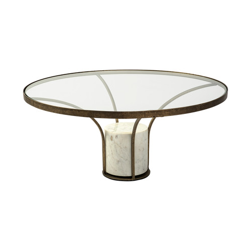 """69052-AB - Jacinta I 36"""" Round Glass Top Metal and Marble Pedestal Coffee Table"""