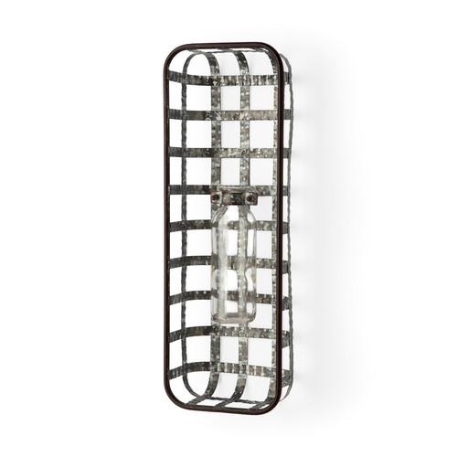 67905 - Margaret Wall Mounted Basket w/Glass Bottle for Botanicals or Floral