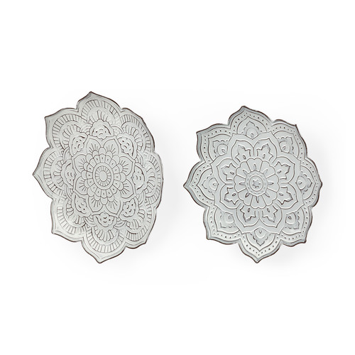 67908 - Miranda Set of 2 Stamped Metal Lotus Flower Wall Decor