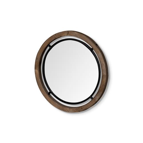 "68002 - Josi 19"" Brown Wood and Black Metal Frame Mirror"