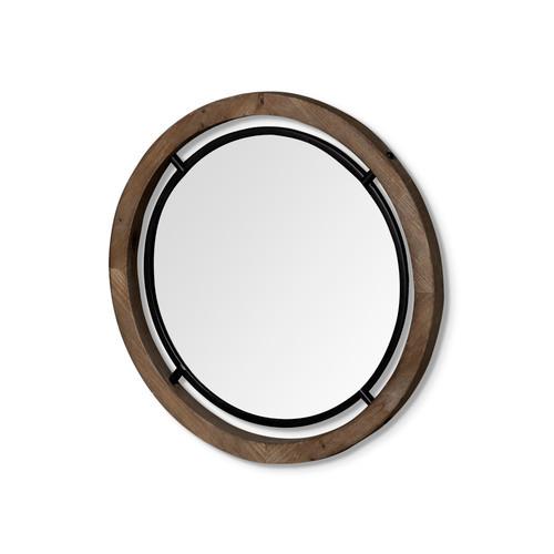 "68003 - Josi 24"" Brown Wood and Black Metal Frame Mirror"