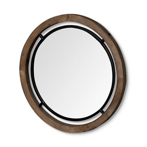 "68004 - Josi 28"" Brown Wood and Black Metal Frame Mirror"