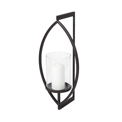 """68417 - Drax 22""""H Black Metal Wall Candle Holder"""