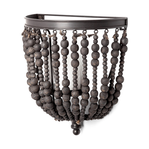 """68425 - Liam II 11""""H Black Metal Frame w/Wooden Beads Wall Candle Holder"""