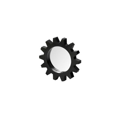 "68549 - Alloy Cog 17"" Round Black Metal Frame Mirror"