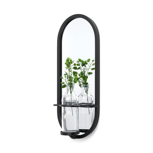 68557 - Katherine Wall Mounted Mirror w/Glass Bottle for Botanicals or Floral