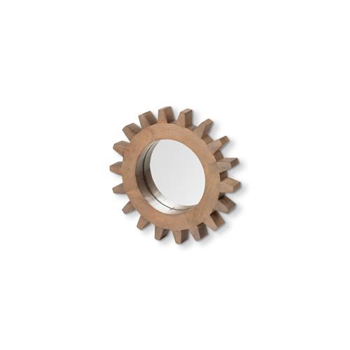 """68665 - Sunrise Cog 17"""" Round Brown Wood Frame Mirror"""