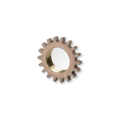 "68684 - Revolve Cog 17"" Round Brown Wood Frame with Brass Metal Lining Mirror"