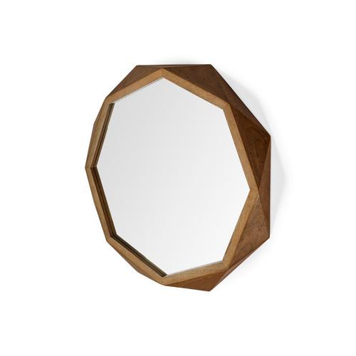 "69027 - Aramis I 32"" Octogon Brown Wood Frame Wall Mirror"