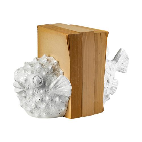 68929 - Meena White Coastal Puffer Fish Bookend