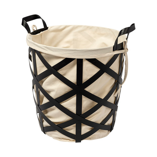 68950 - Liya Black Metal Basket with Cream Fabric Liner