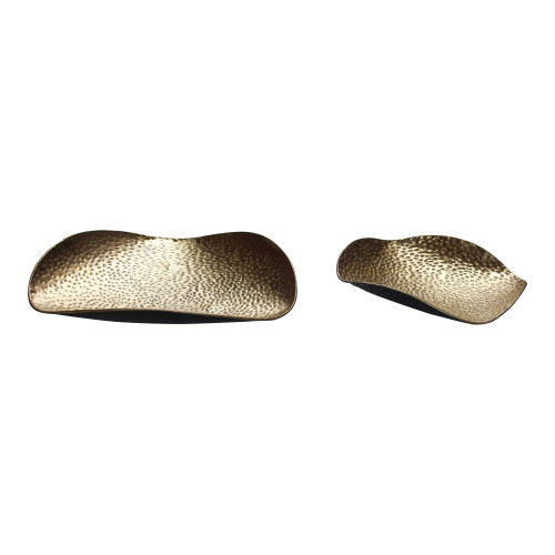 HAMMERED GOLD TRAY S/ 2