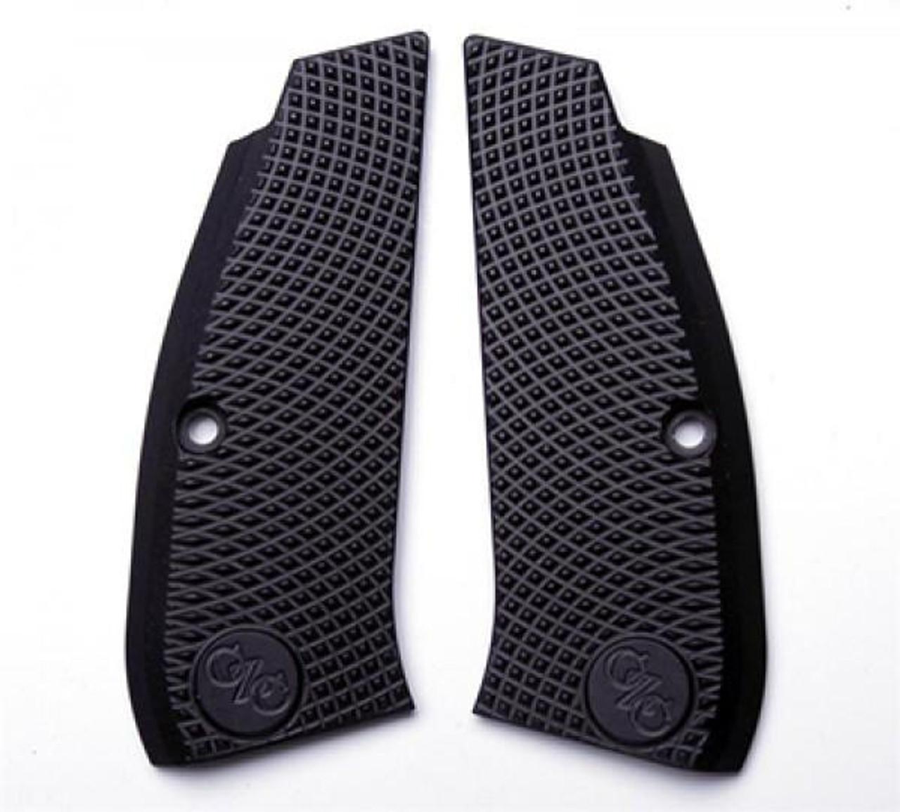 CZ 75 Full Size Grips Aluminum BLACK Thick Aggressive Checker