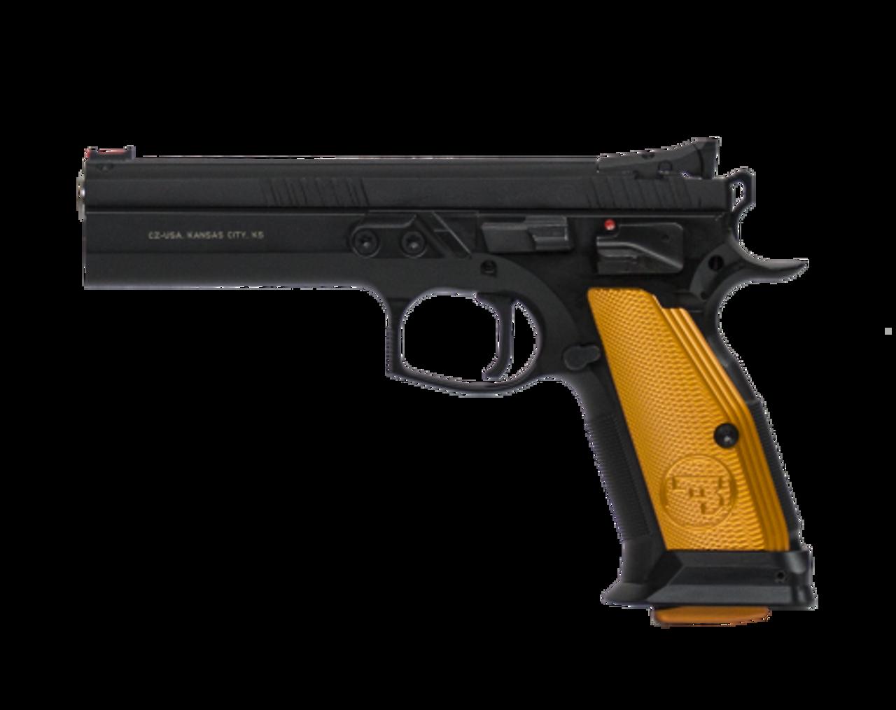 "CZ 75 TS (Tactical Sport) Orange Semi-Auto Pistol, 9mm, Orange Grips, Adjustable Sights, 5.4"" Barrel, 10 Rounds"