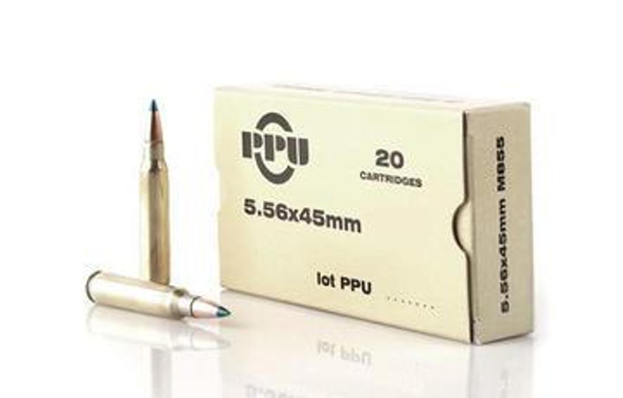 PPU PP5.21 Rifle Ammo 5.56x45 55GR FMJBT M193
