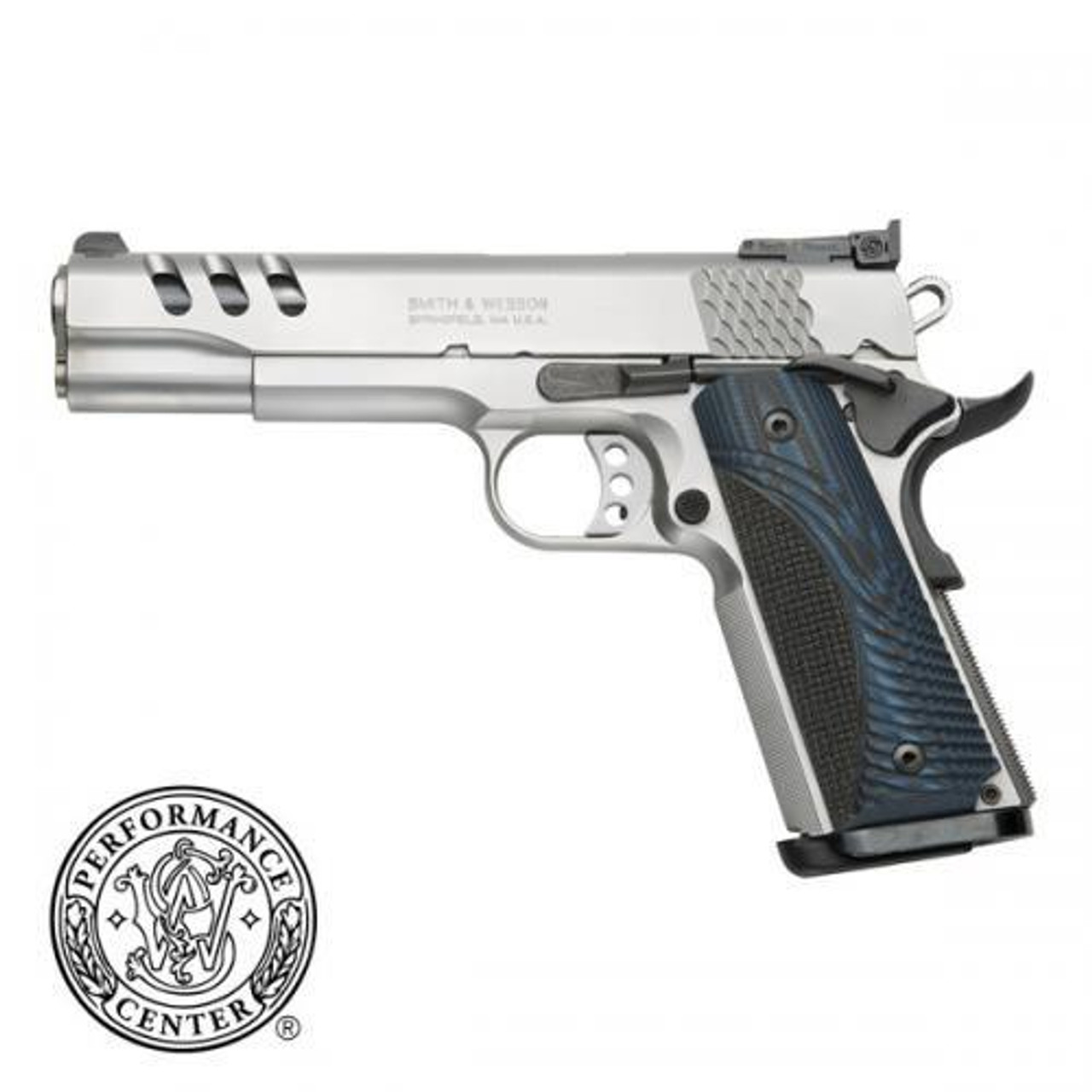 "Smith & Wesson 1911 Performance Center Semi-Auto Pistol, .45 ACP, 5"" Barrel, Wood Grips, Stainless Finish, 8 Rounds, Glass Bead Finish"