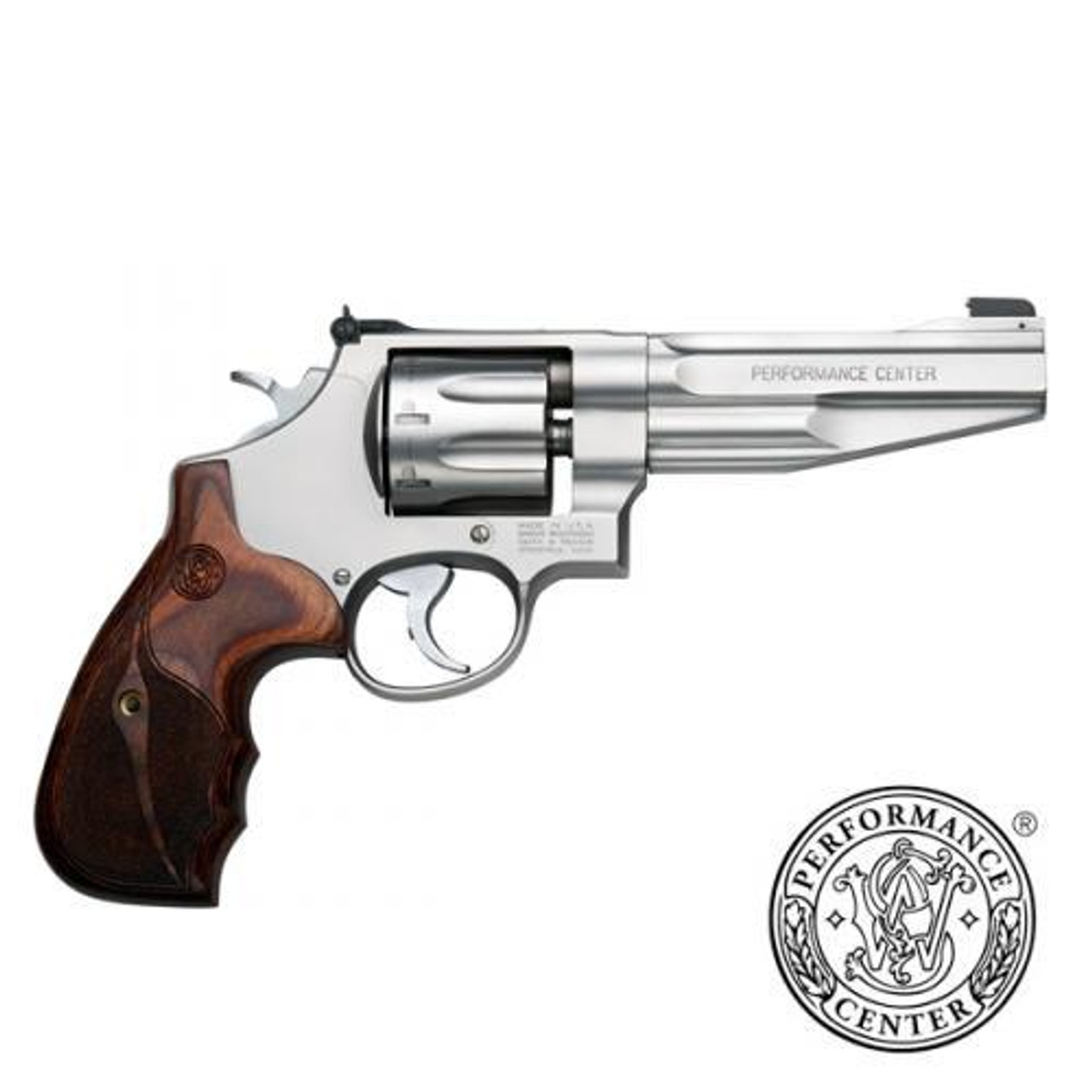 "Smith & Wesson 627 Performance Center Revolver, .357 MAG, 5"" Barrel, 8 Shot, Silver Matte Finish, Wood Grips, 170210"