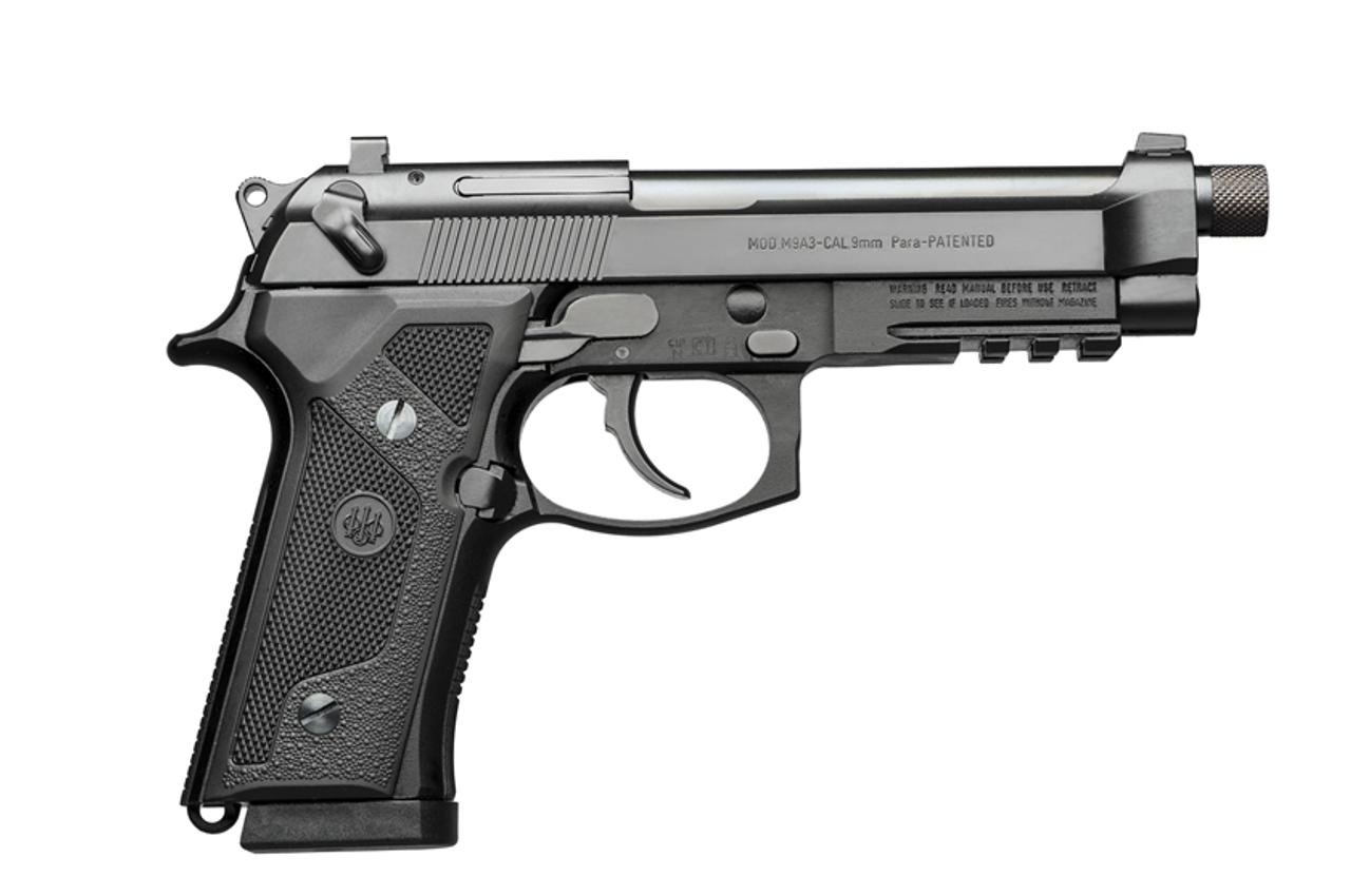 """BERETTA M9A3 W/RAIL, 4.90"""" THREADED BARREL, BLACK, 9MM"""
