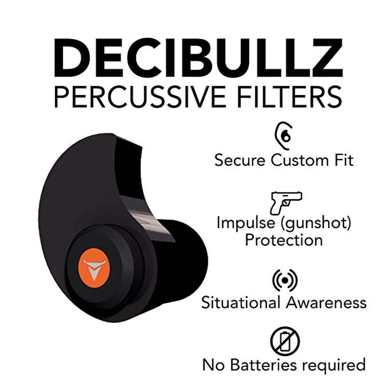 Decibullz Custom Molded Percussive Shooting Filter Ear Plugs