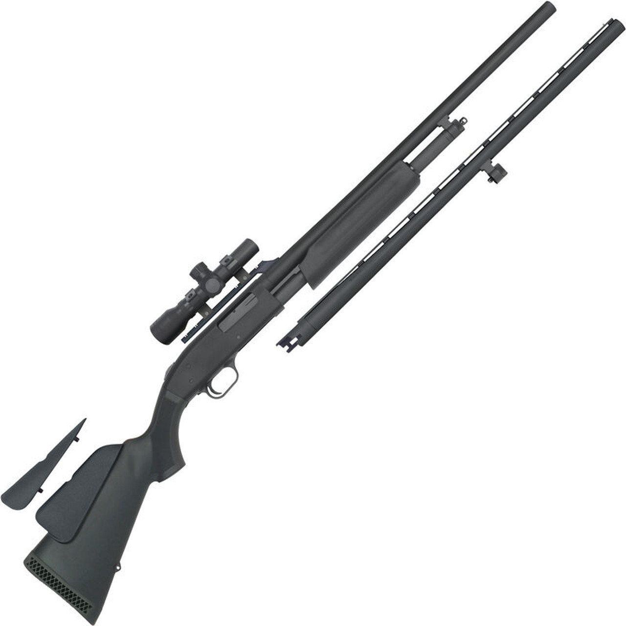 """Mossberg 500 Field and Slug Combo 20 Gauge Pump Action Shotgun 26"""" and 24"""" Barrels 3"""" Chamber 5 Rounds with 2.5x20 Scope Synthetic Stock Matte Blued"""