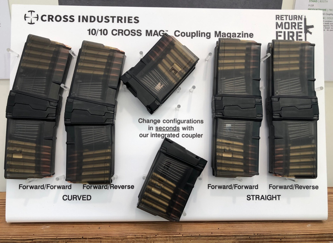 Cross Industries 5.56 NATO 10/10 Cross Mag Coupling AR-Pistol 10-Round Magazine Set - Smoke Black